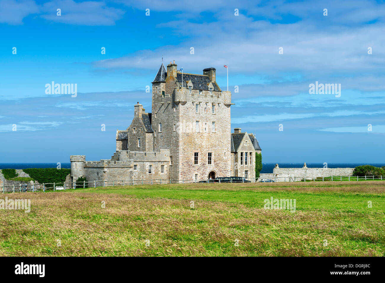 Ackergill Tower near Wick, a castle from the 15th century, on the North Sea coast, Caithness County, Scotland, United Kingdom - Stock Image