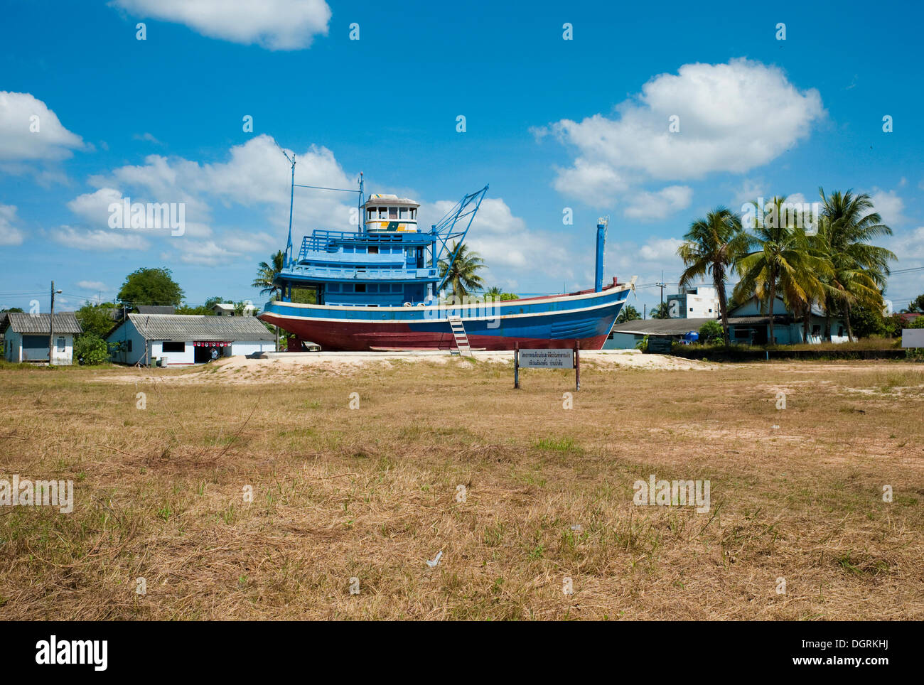 Fishing boats washed into the heart of the country by the Tsunami on 26 Dec. 2004, now the Nam Khem Tsunami Memorial to the over - Stock Image