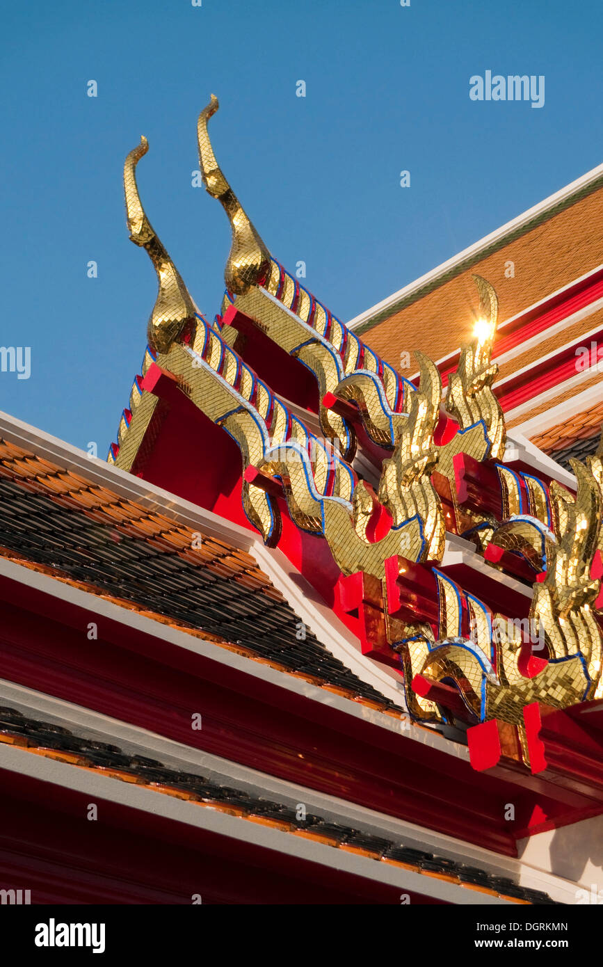 Chofah, literally sky tassel, typical architectural ornamentation on the roofs of Buddhist buildings, Wat Phra Kaew - Stock Image