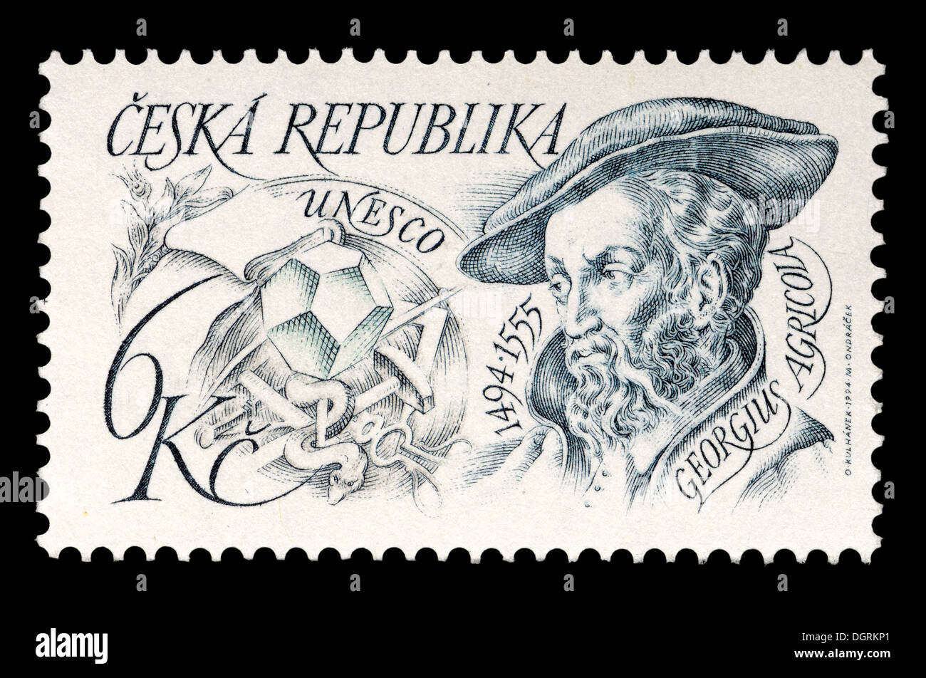 Postage stamp from Czech Republic - Gerogius Agricola (1494-1555) German scholar and scientist - 'the father of mineralogy' - Stock Image