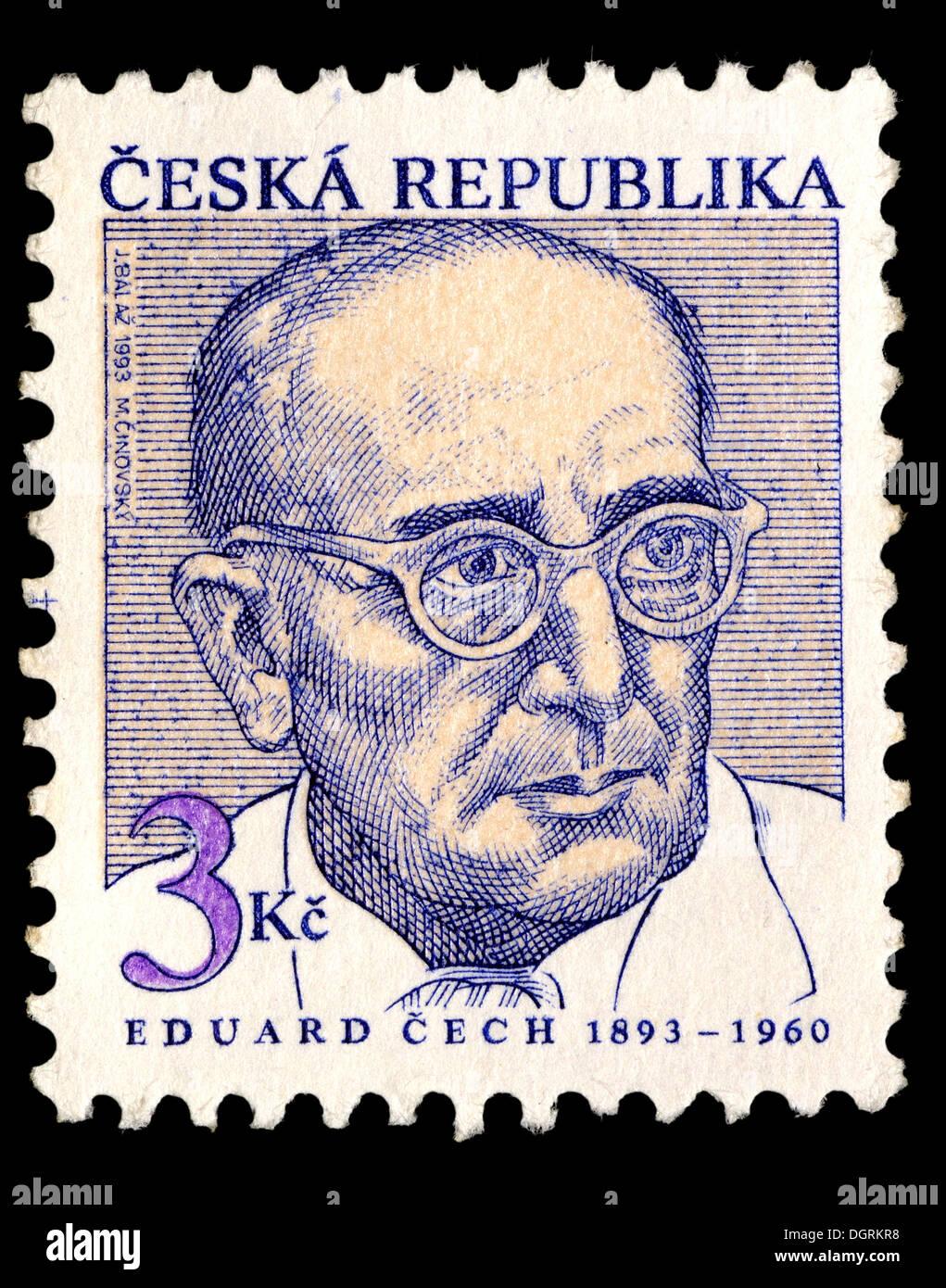 Postage stamp from Czech Republic - Eduard Cech (1893-1960) Czech mathematician - Stock Image