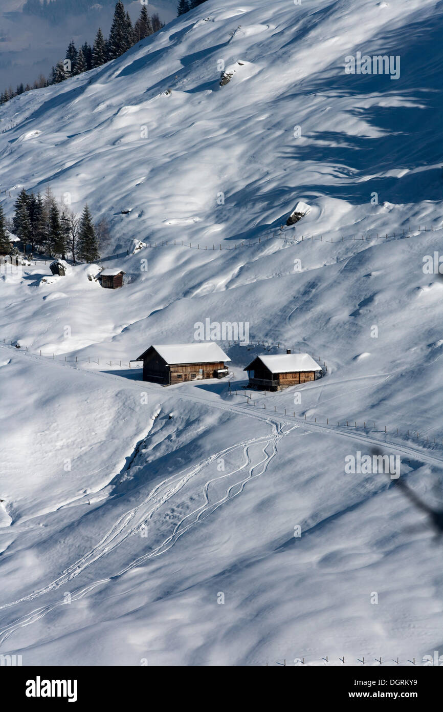 Lonely, snowy farm in the mountains, Pankrazberg, Zillertal, Tyrol, Austria, Europe - Stock Image