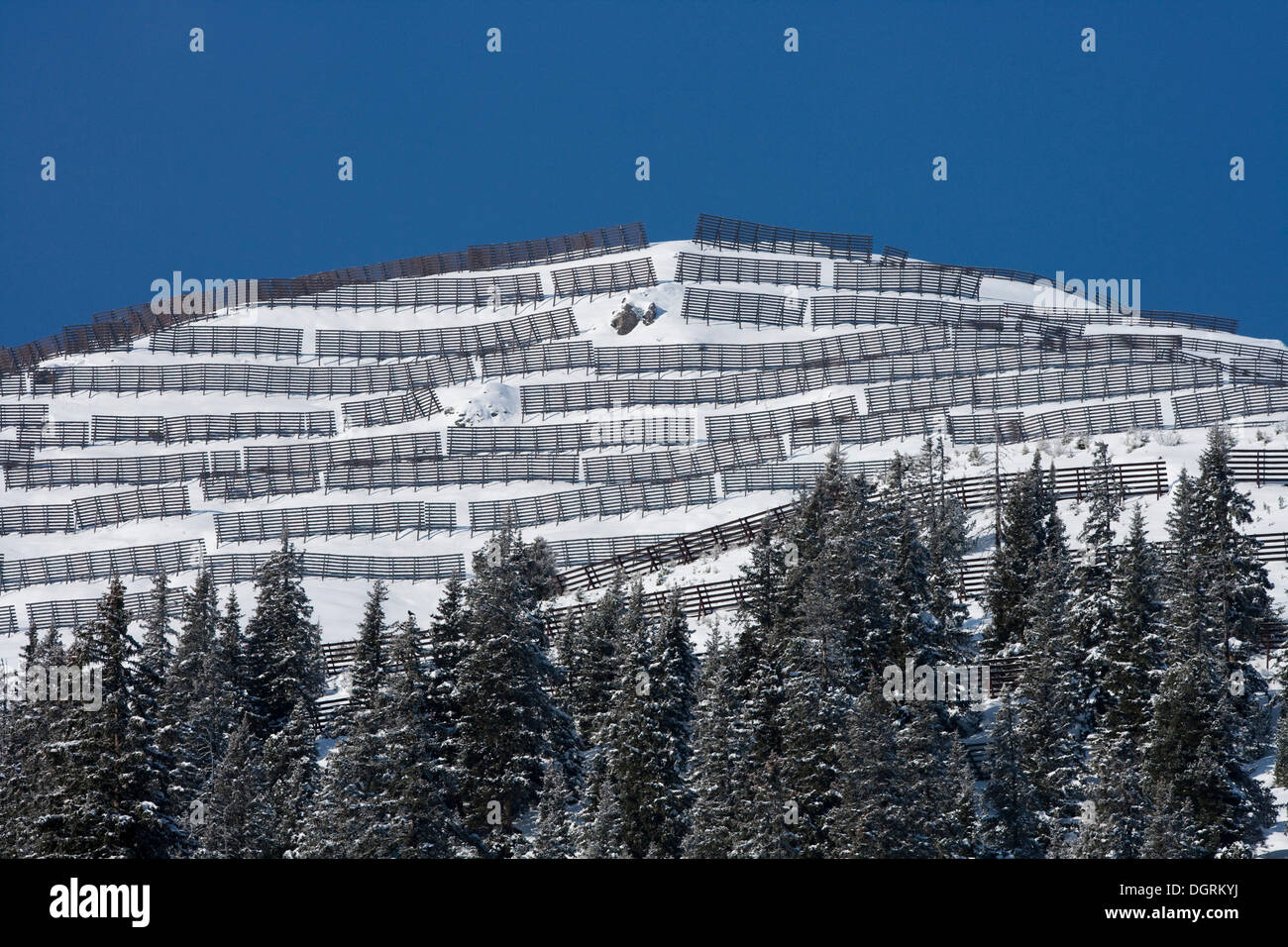 Wooden fences, protection from snow avalanches and snow drifts, Austria, Europe - Stock Image
