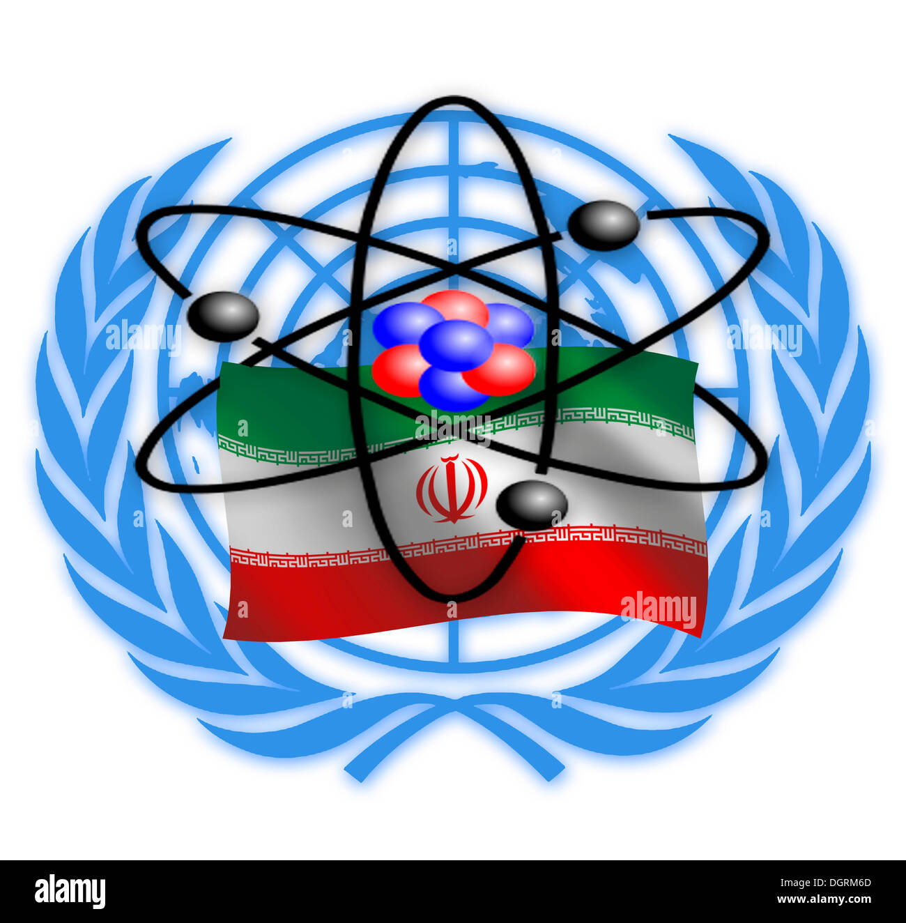Symbolic image, nuclear dispute between Iran and the United Nations, international community, illustration - Stock Image