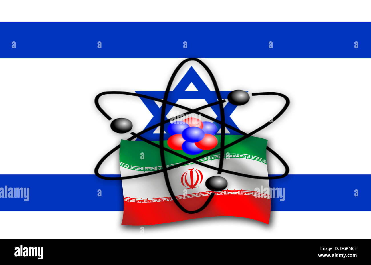Symbolic image, nuclear dispute between the Iran, Israel and the United Nations, international community, illustration - Stock Image