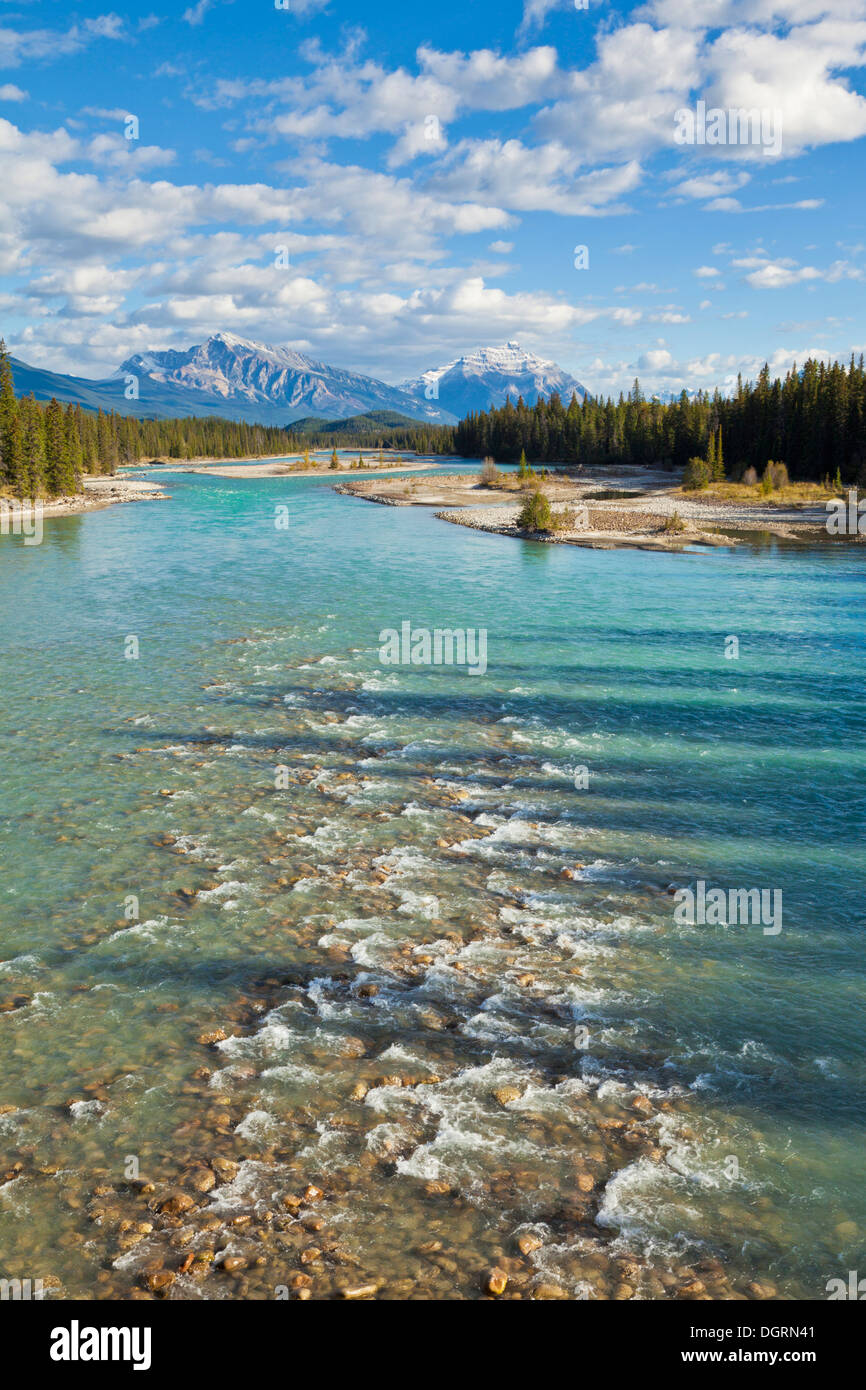 The Athabasca River flowing through Jasper National Park just outside the town of Jasper Canadian Rockies Alberta Canada - Stock Image