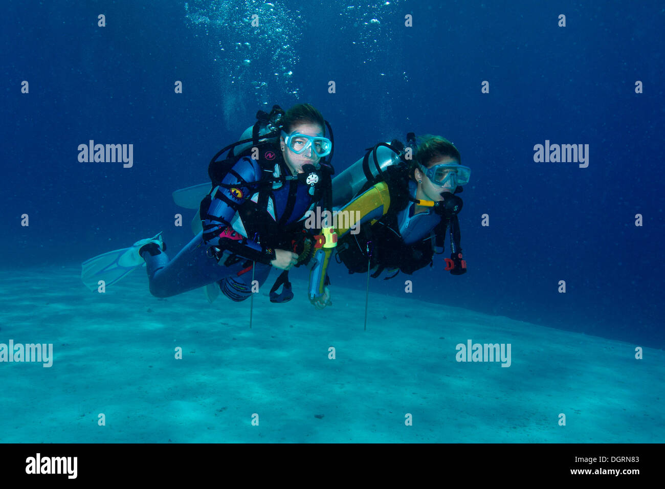 Two divers, South China Sea, Balnek, Busuanga Island, Calamian Islands, Palawan, Mimaropa, Philippines - Stock Image