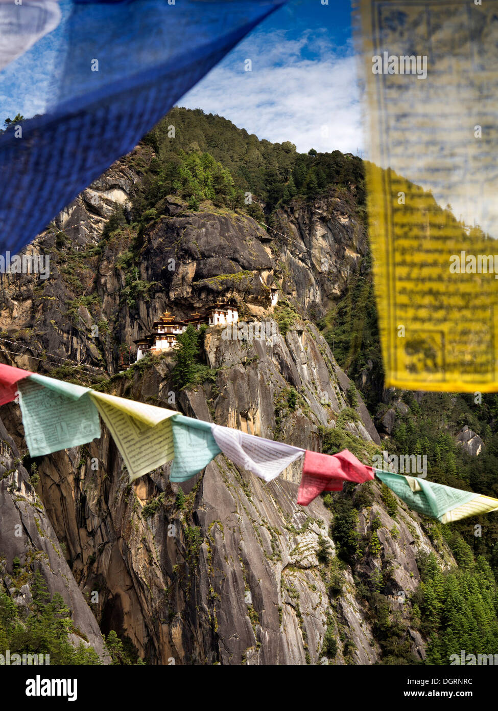 Bhutan, Paro valley, prayer flags at Taktsang Lhakang (Tiger's Nest) monastery viewpoint - Stock Image