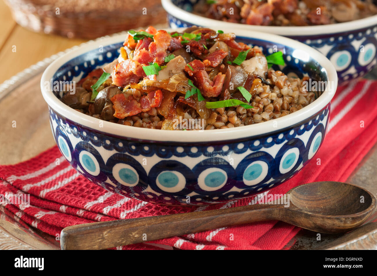 Kasha. Buckwheat with bacon,onions and mushrooms - Stock Image