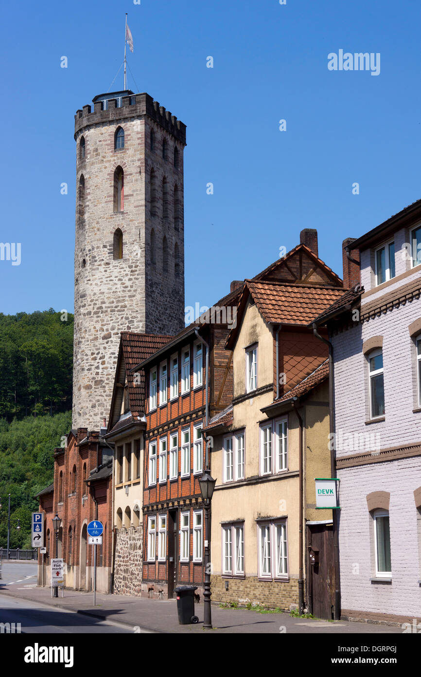 Ferry Gates Tower on the edge of the historic town centre, Hannoversch Münden, Lower Saxony, Germany Stock Photo