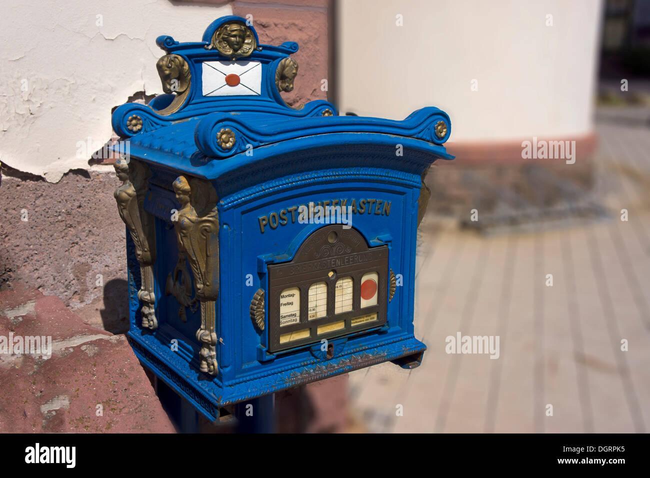 Historic postbox, Bad Liebenstein, Bad Liebenstein, Thuringia, Germany - Stock Image