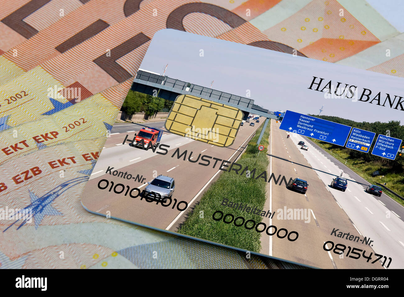Highway toll fee payment by credit card - Stock Image