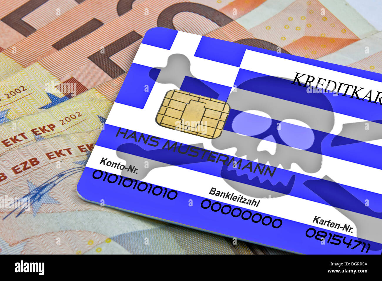 Credit card with a skull, as means of payment in Greece, insecure, questionable creditworthiness of Greece - Stock Image