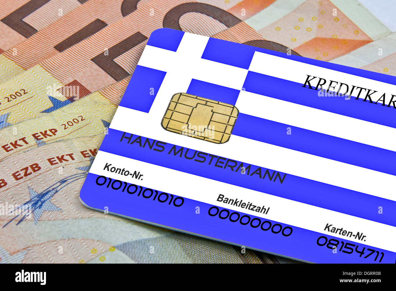 Credit card as means of payment in Greece - Stock Image