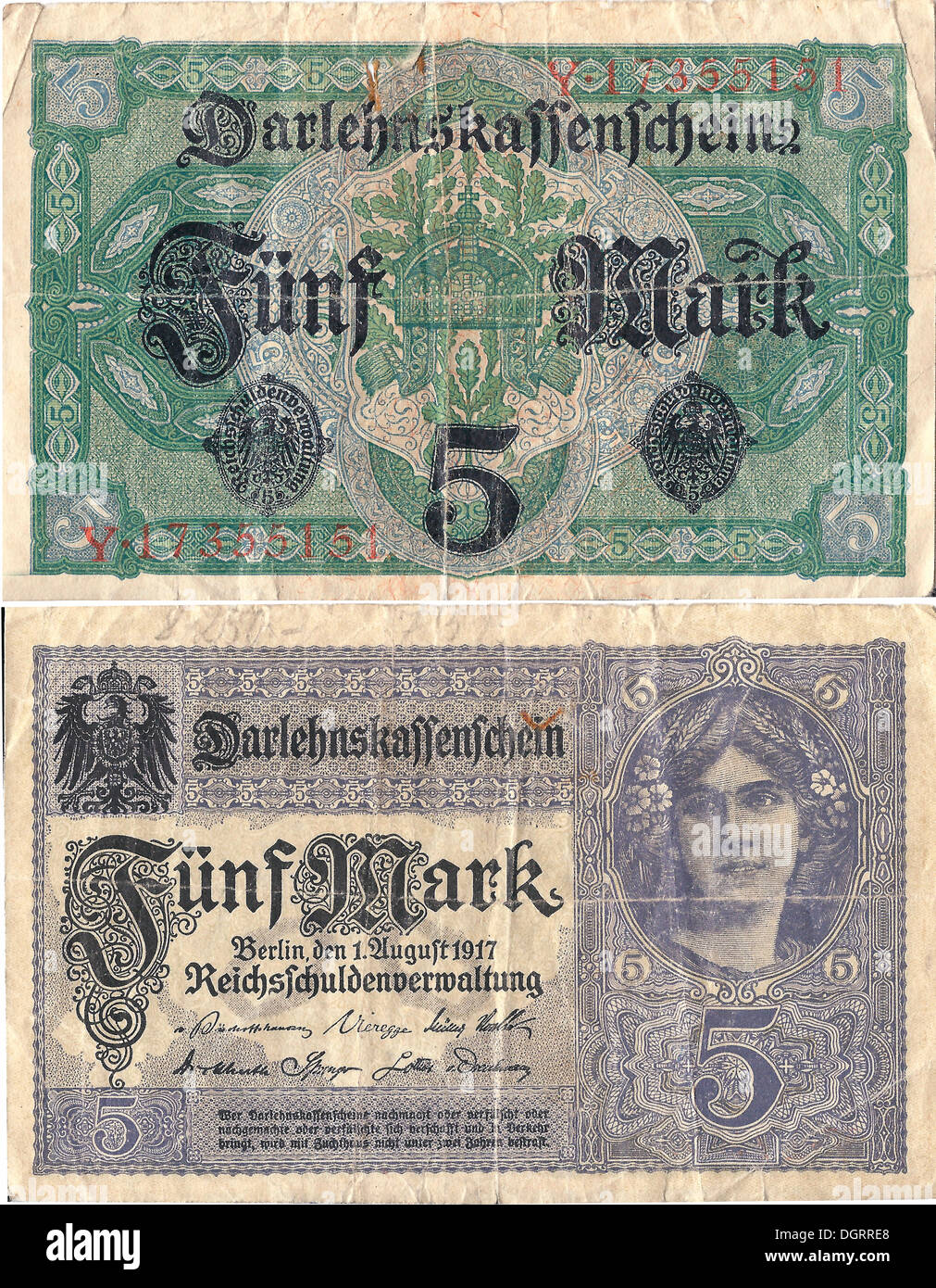 Coupon, front and rear, credit unions bill in the amount of 5 marks, circa 1917, National Debt Office of Germany - Stock Image