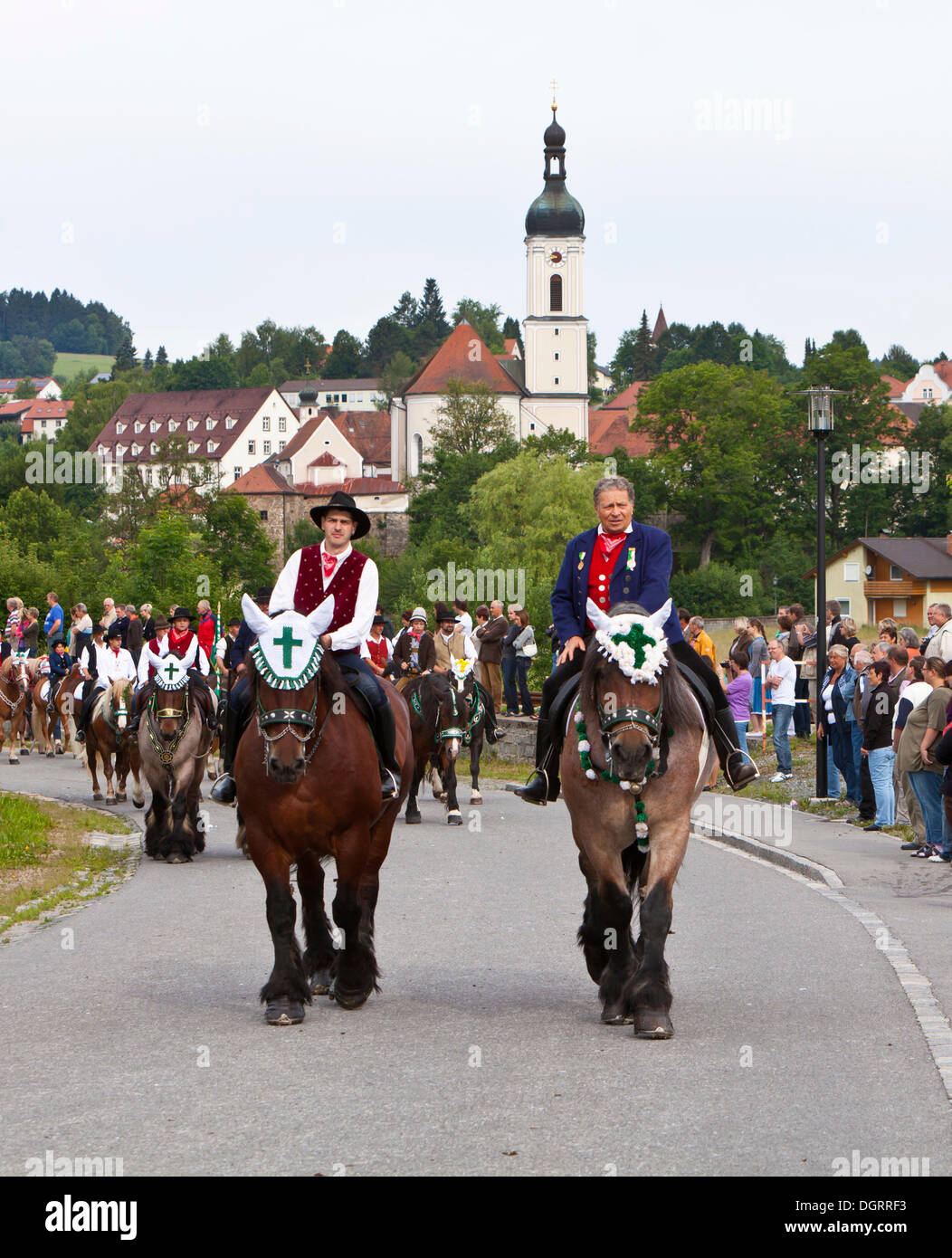Whit Procession to Bad Koetzting, one of the largest mounted processions in Europe, Bad Koetzting, Bavaria, PublicGround - Stock Image