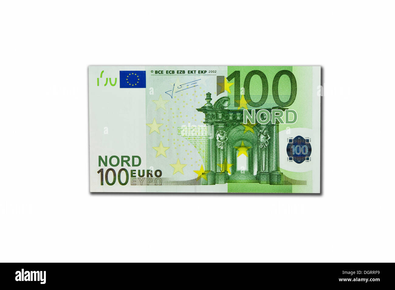 Symbolic icon, disintegration of the euro and the introduction of the new northern euro currency, 100 Nord-Euro Stock Photo