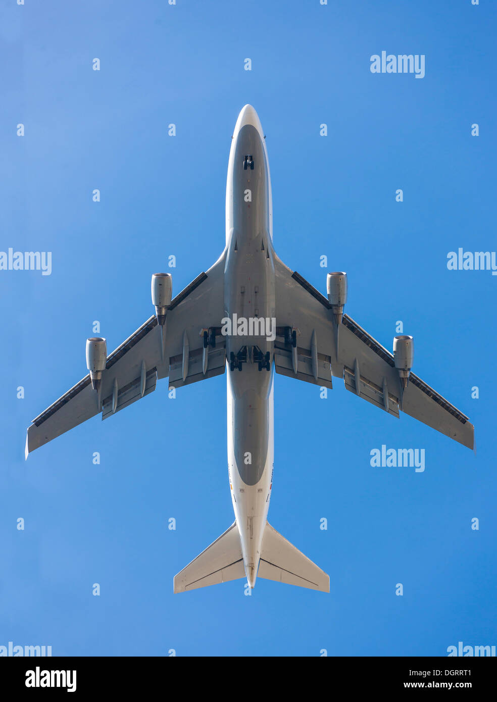 Boeing 747 from below, Hesse - Stock Image