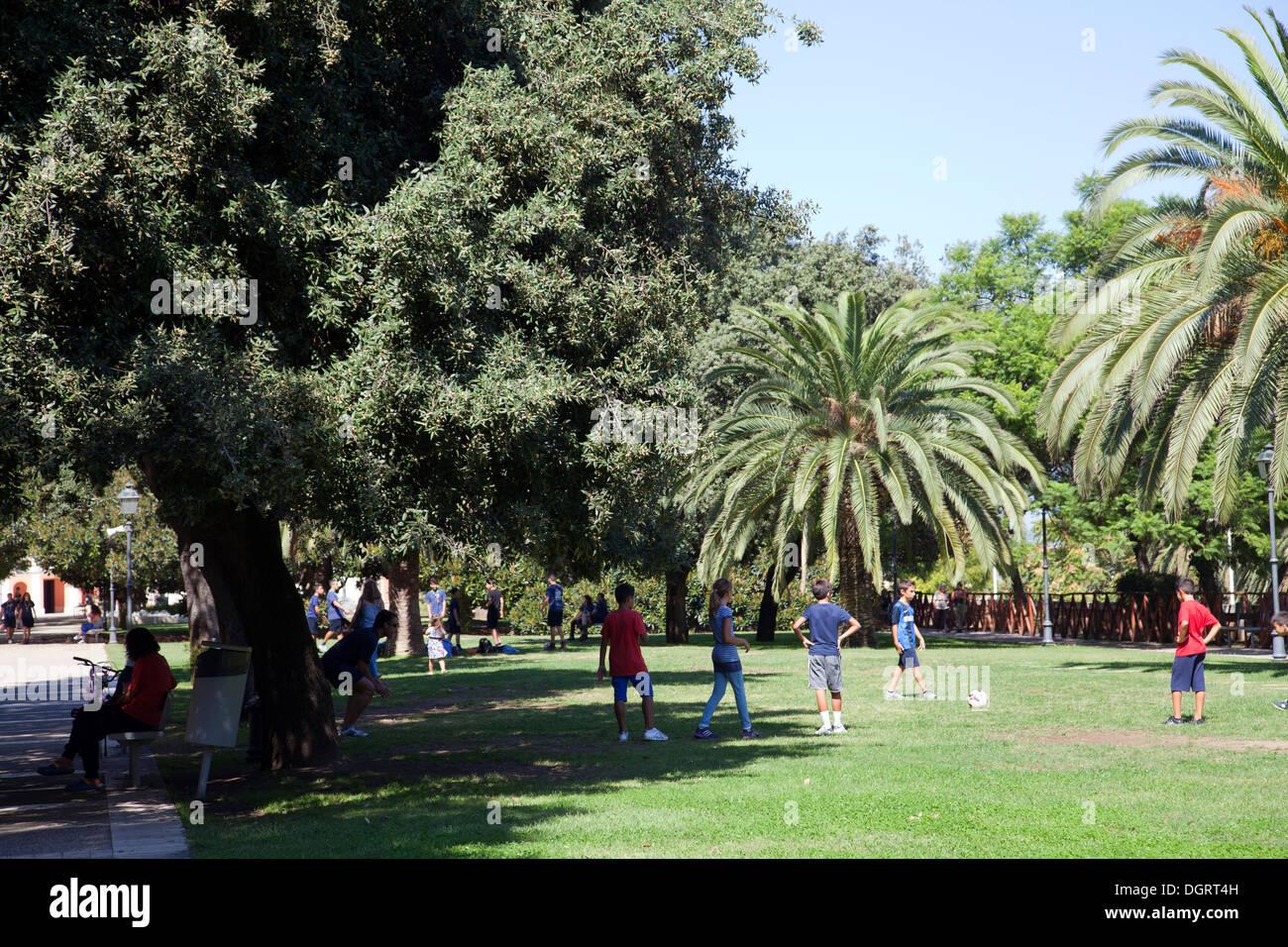 Giardini Pubblici or Public Gradens in Cagliari - Sardinia - Stock Image