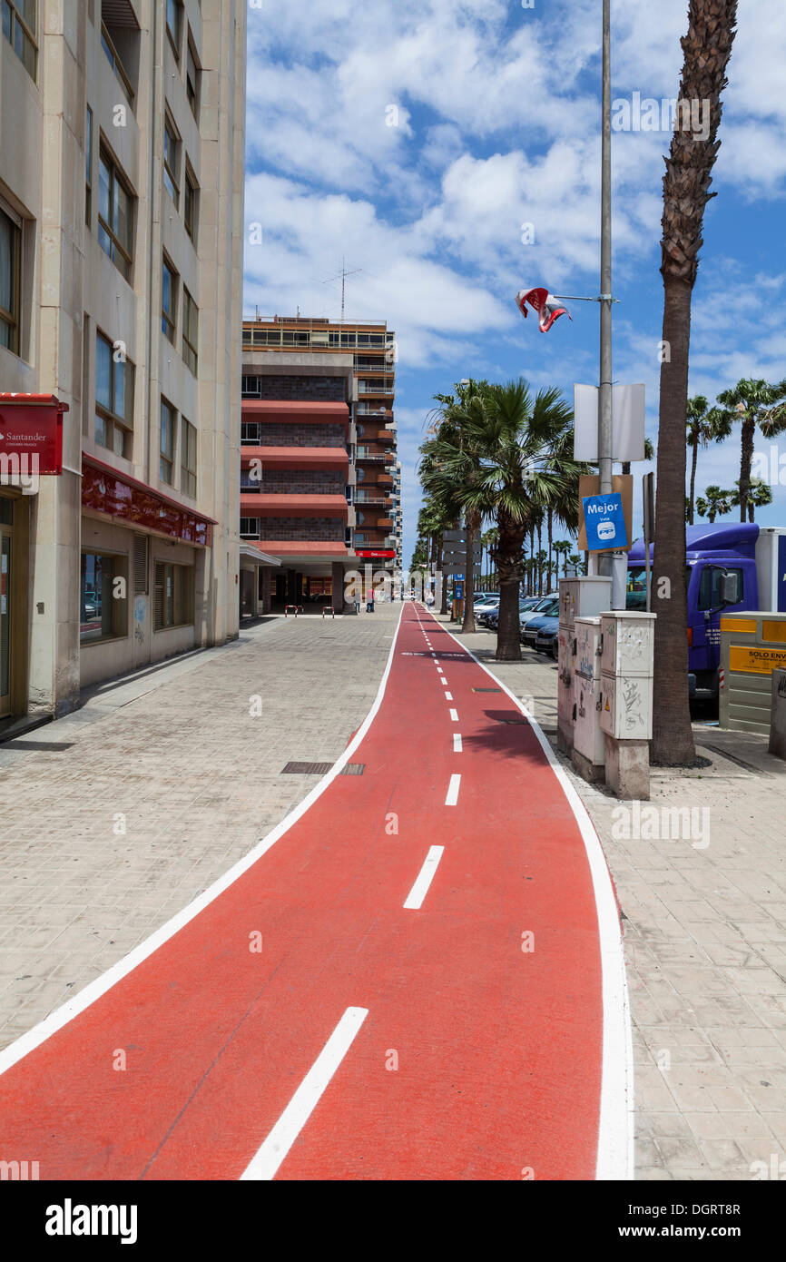 Bike lane on Ave de Canarias street, Las Palmas, Gran Canaria, Canary Islands, Spain, Europe, PublicGround - Stock Image