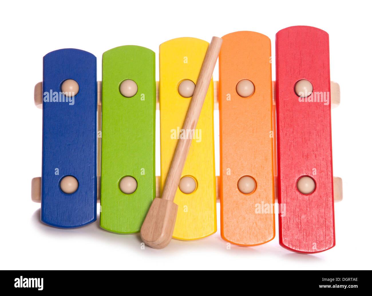 Rainbow Xylophone musical instrument studio cutout - Stock Image