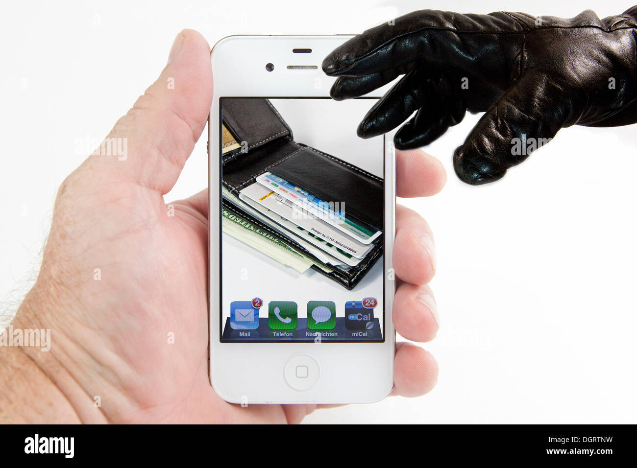 Gloved hand reaching for wallet on smartphone display, symbolic image for the theft of sensitive data from a mobile phone - Stock Image