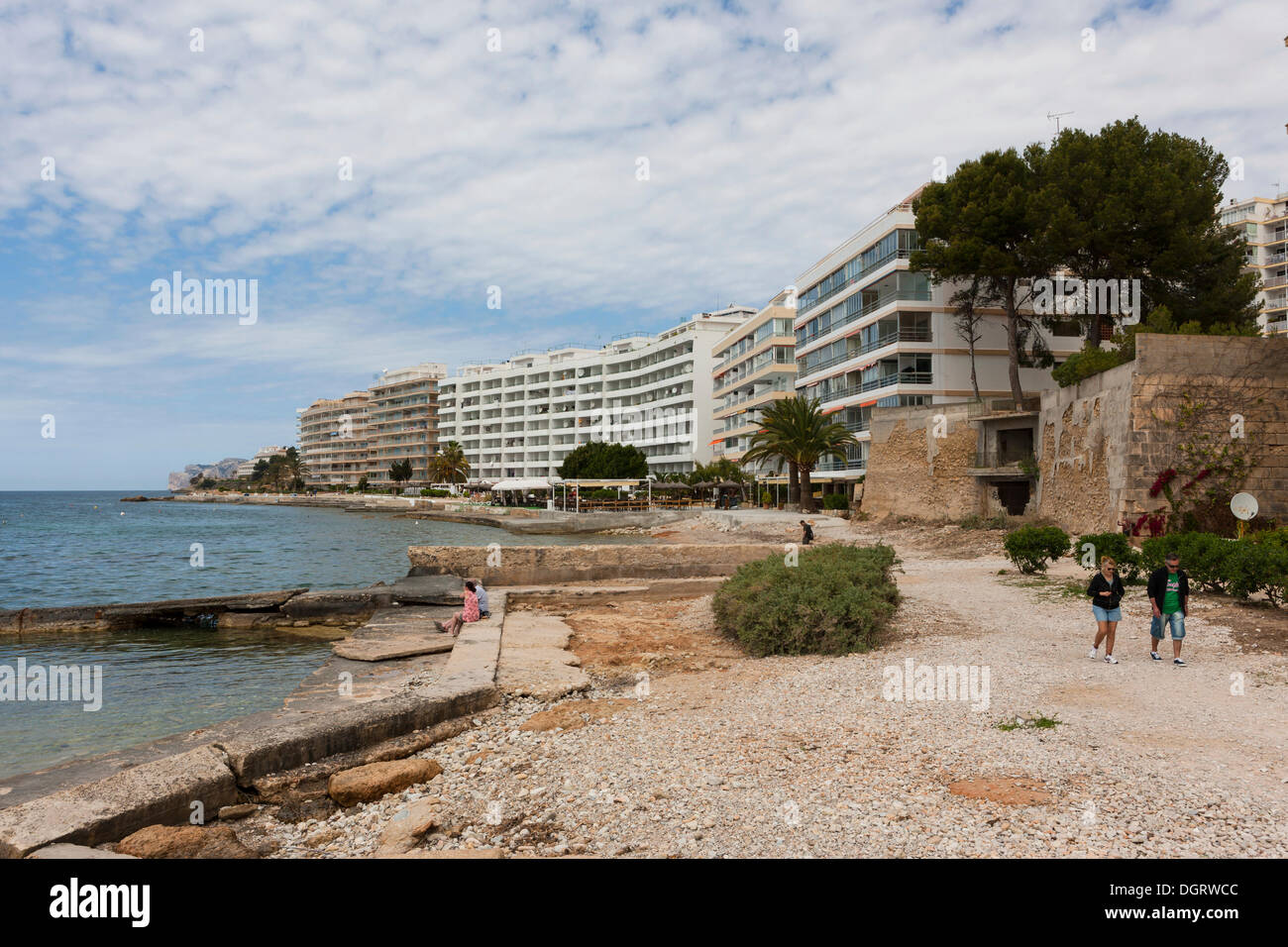 Hotel complexes along the bay of Santa Ponsa, Costa de la Calma, Mallorca, Balearic Islands, Spain, Europe - Stock Image