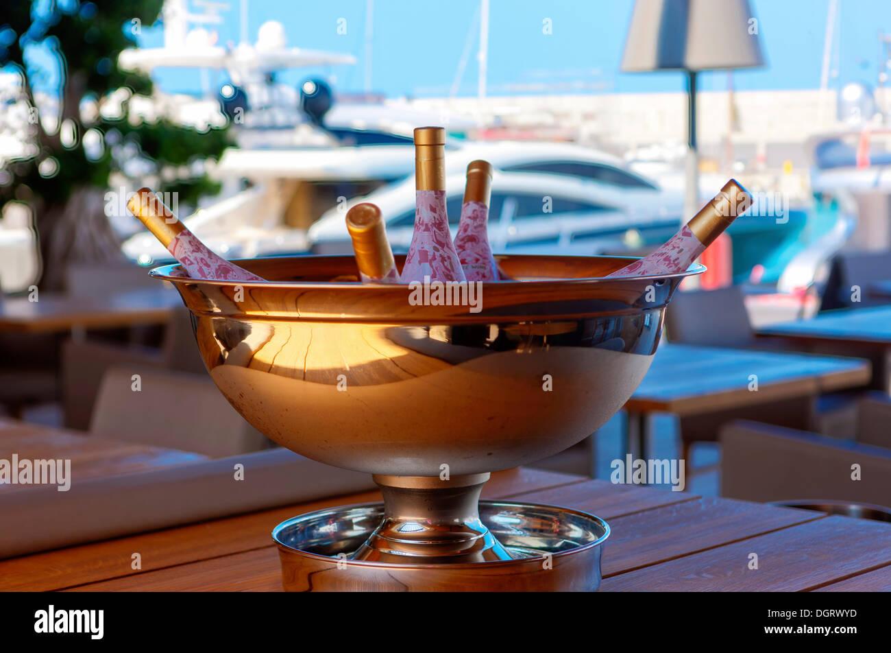 Champagne cooler in the marina of Port Adriano, El Toro, Mallorca, Majorca, Balearic Islands, Spain, Europe - Stock Image