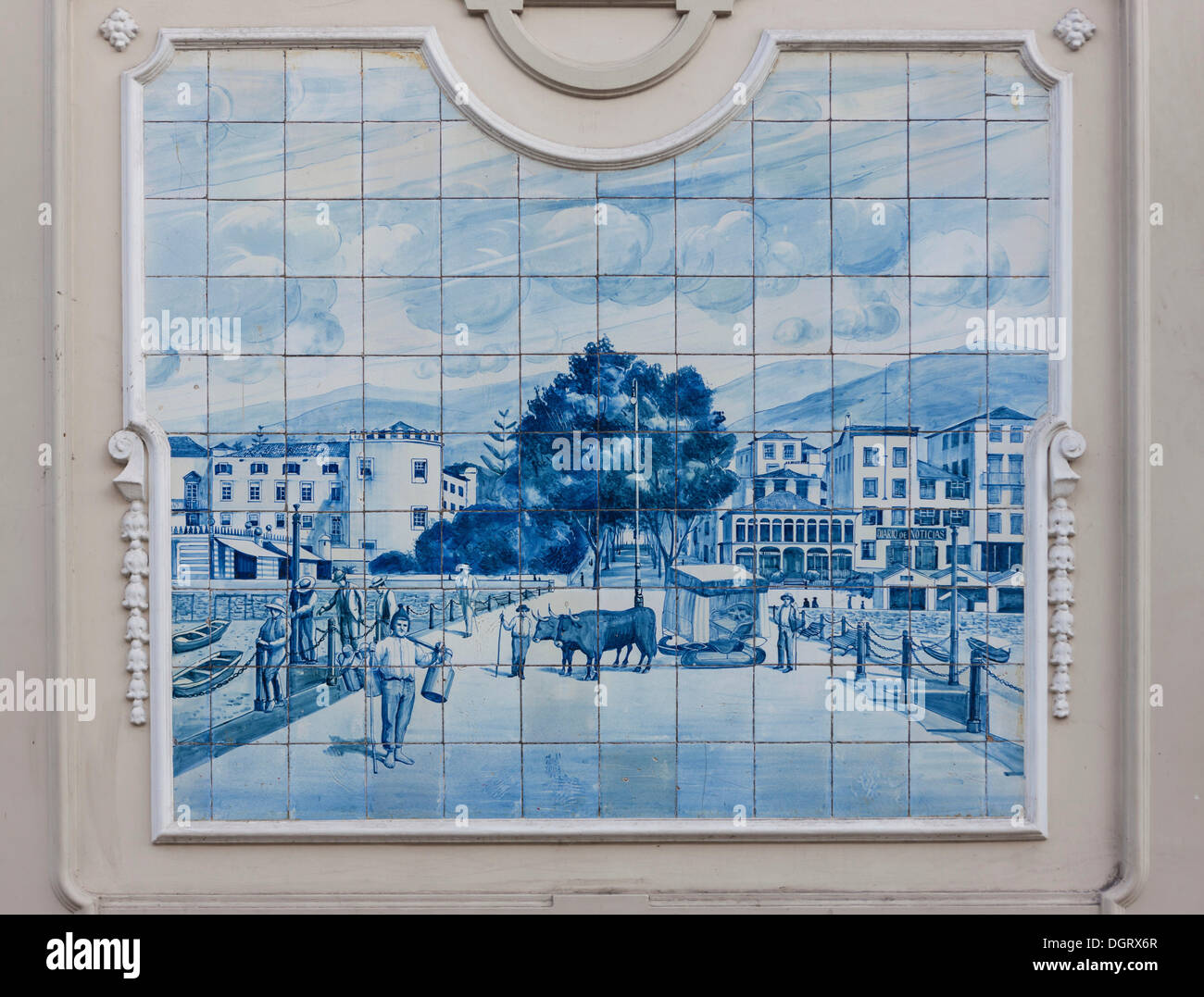 Azulejo, mural of ceramic tiles at the market in Funchal, Santa ...