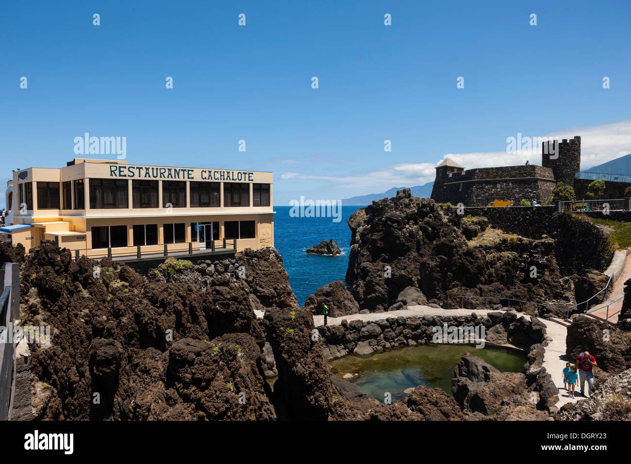 Restaurant Cachalote and the Madeira Aquarium, Lanceiros, Porto Moniz, Madeira, Portugal - Stock Image