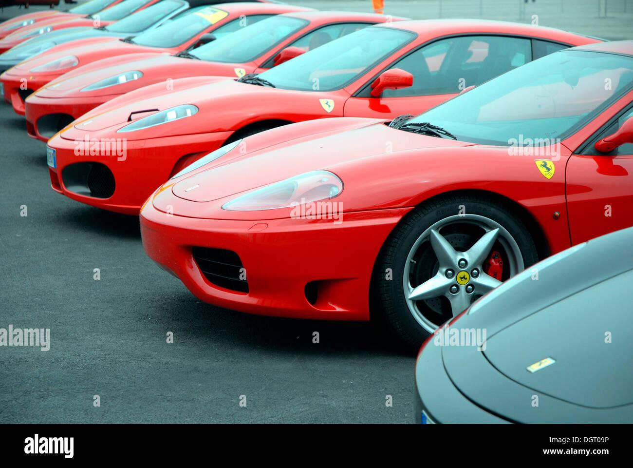 Ferrari Cars In A Car Park, Misano World Circuit, Italy, Europe   Stock