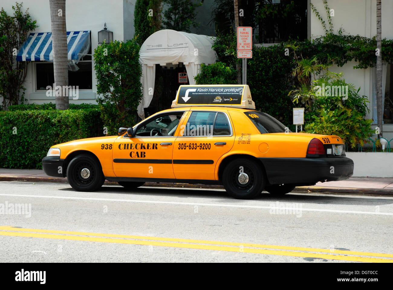 A Checker Cab in Miami, Florida, USA, America Stock Photo