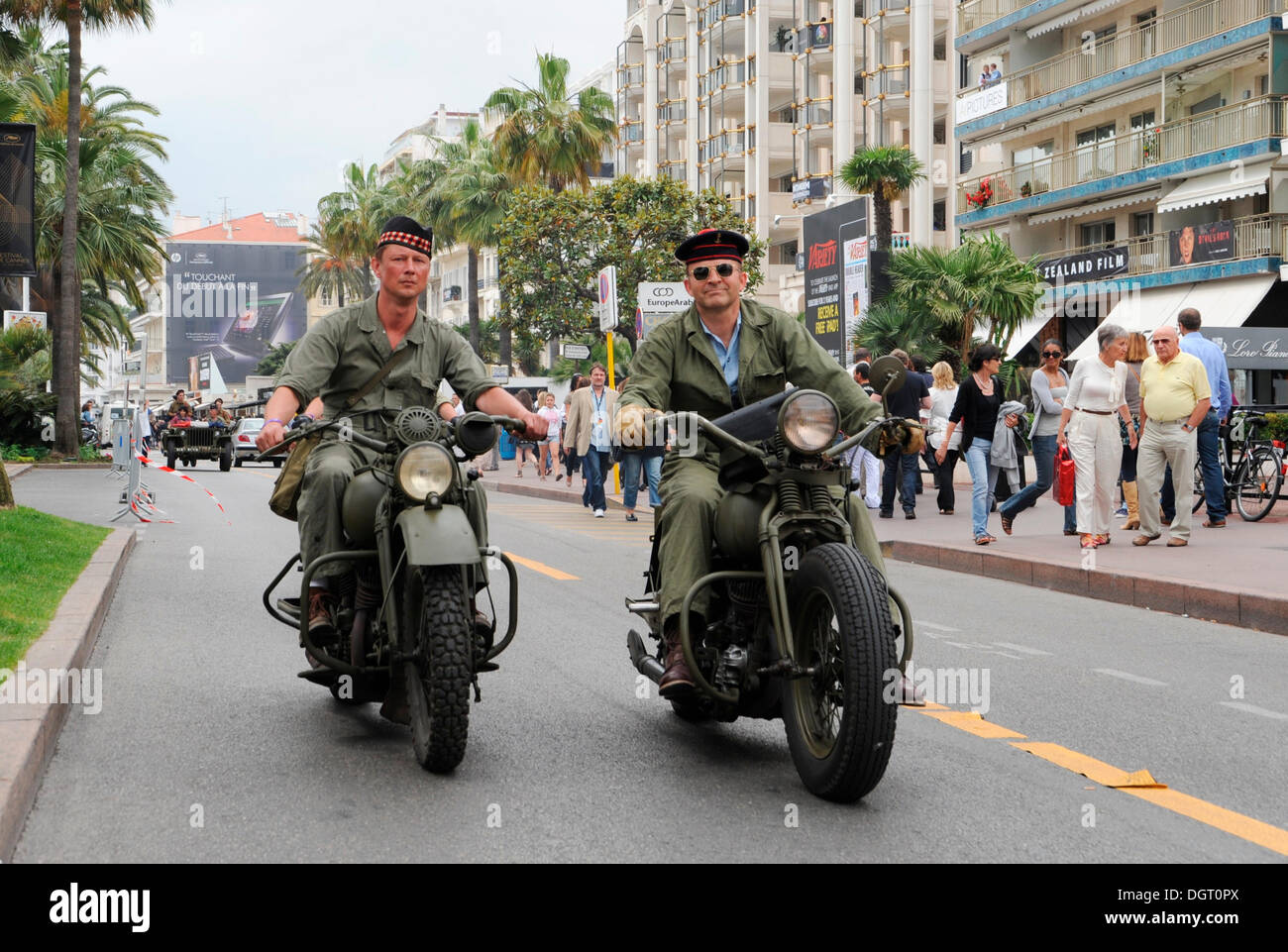 Biker meeting of army fans from France on the Croisette in Cannes, Cote d'Azur, France, Europe - Stock Image