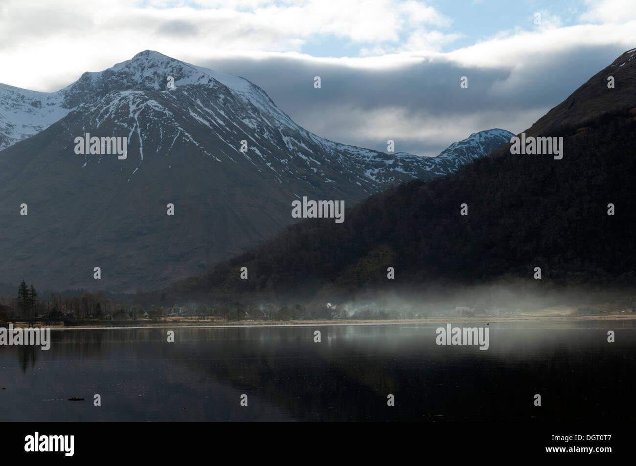 The Bidean nam Bian range, Glencoe, over Loch Leven, from near North Ballachulish, Highland region, Scotland, UK - Stock Image
