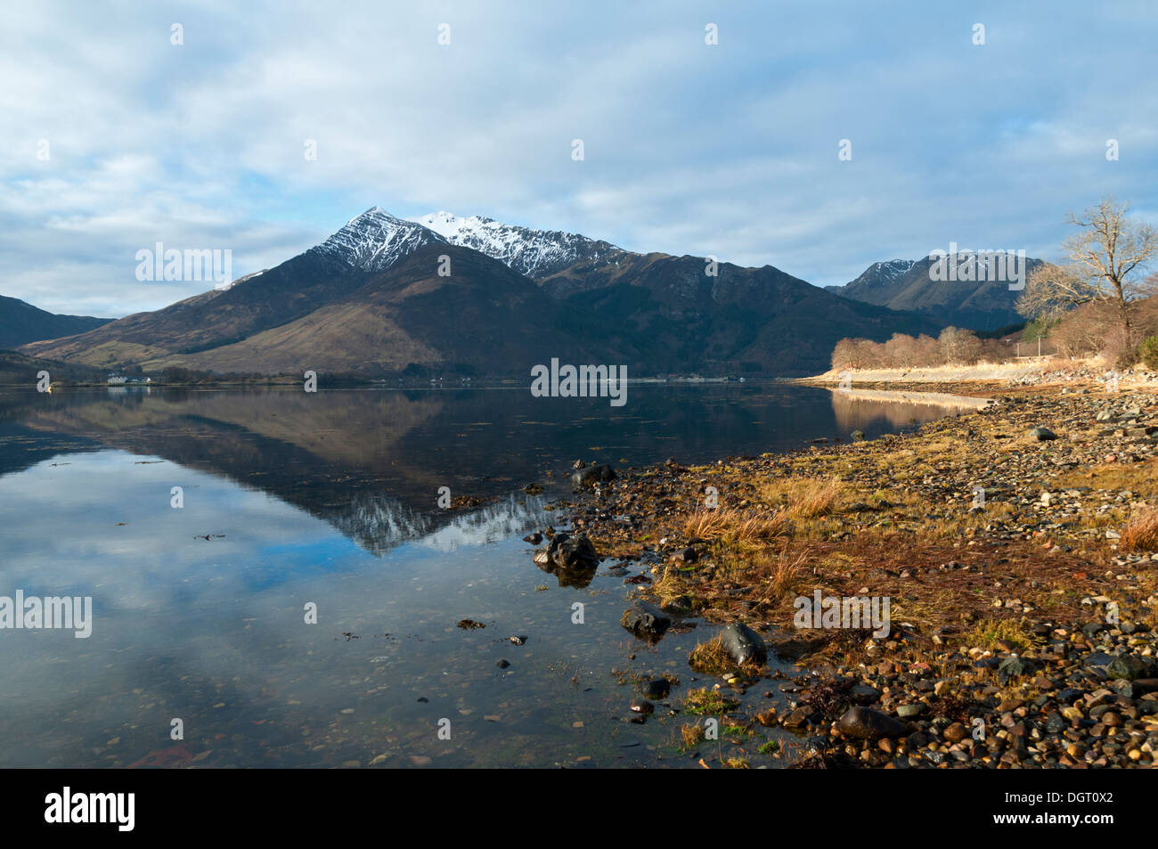 The Beinn a' Bheithir mountain group over Loch Leven, from near North Ballachulish, Highland region, Scotland, UK Stock Photo