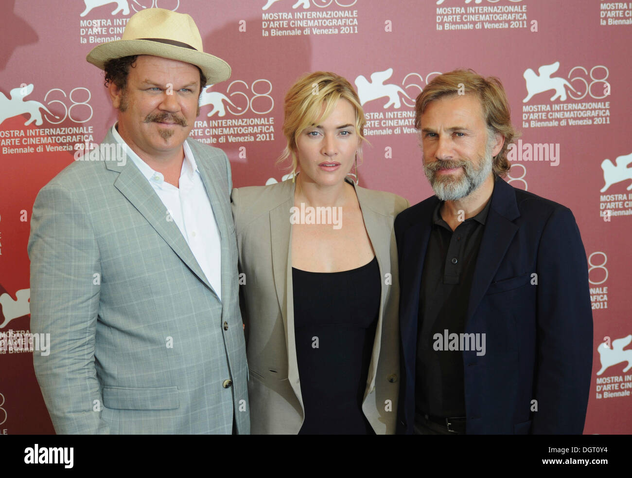 John C Reilly, Kate Winslet and Christoph Waltz attending a photocall for the film Carnage, 68th International Film Festival of - Stock Image