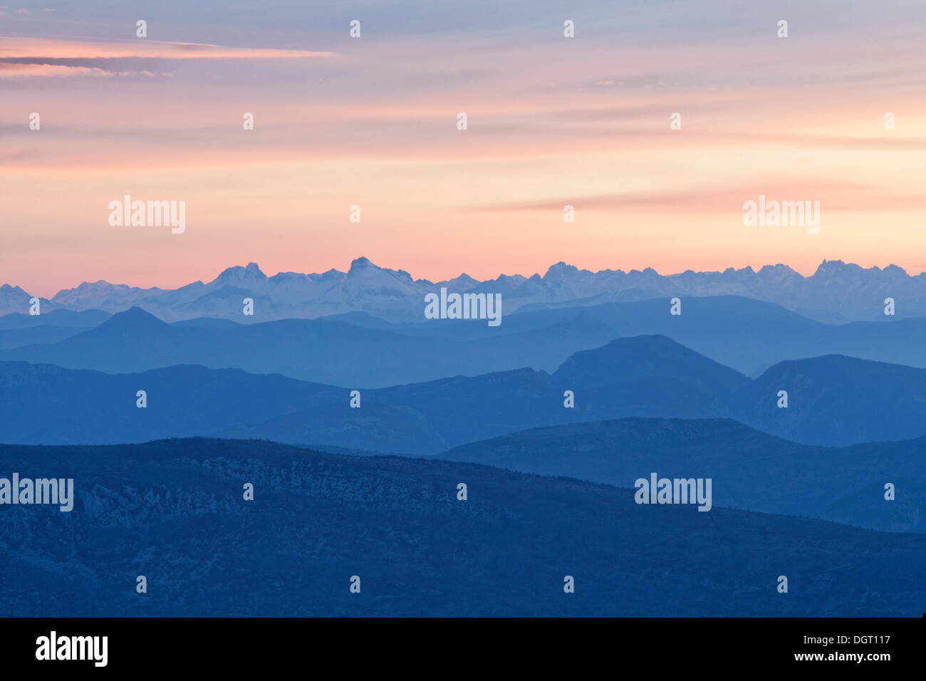 View of the Alps from Mont Ventoux, looking northeast at sunrise, from the Du Mont Serein ski station, Malaucène - Stock Image