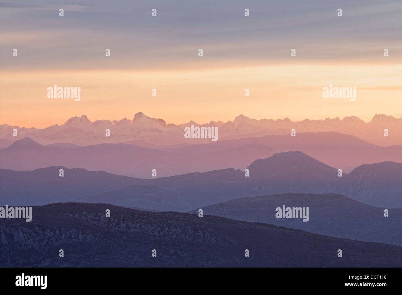 View of the Alps from Mont Ventoux, looking northeast at sunrise, from the Du Mont Serein ski station, Malaucène Stock Photo