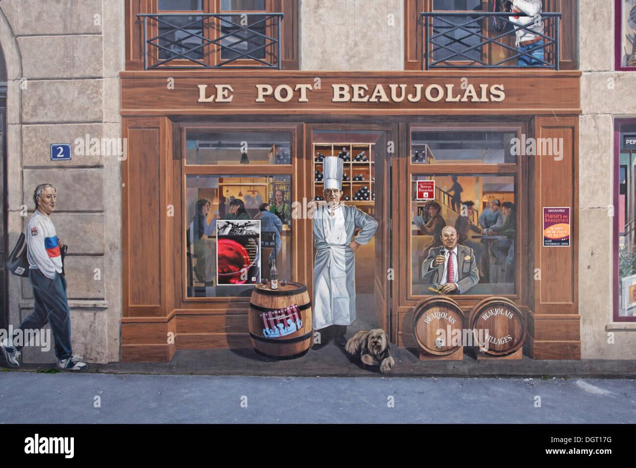 Trompe Lu0027oeil Painting On House Facade On The Quai Saint Vincent, Lyon,  Département Rhône, France, Europe