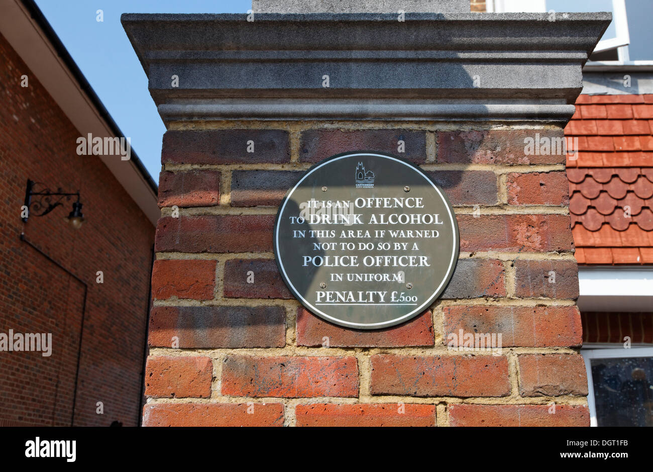 Sign prohibiting the consumption of alcohol in the area, Canterbury Railway Station, South East England - Stock Image