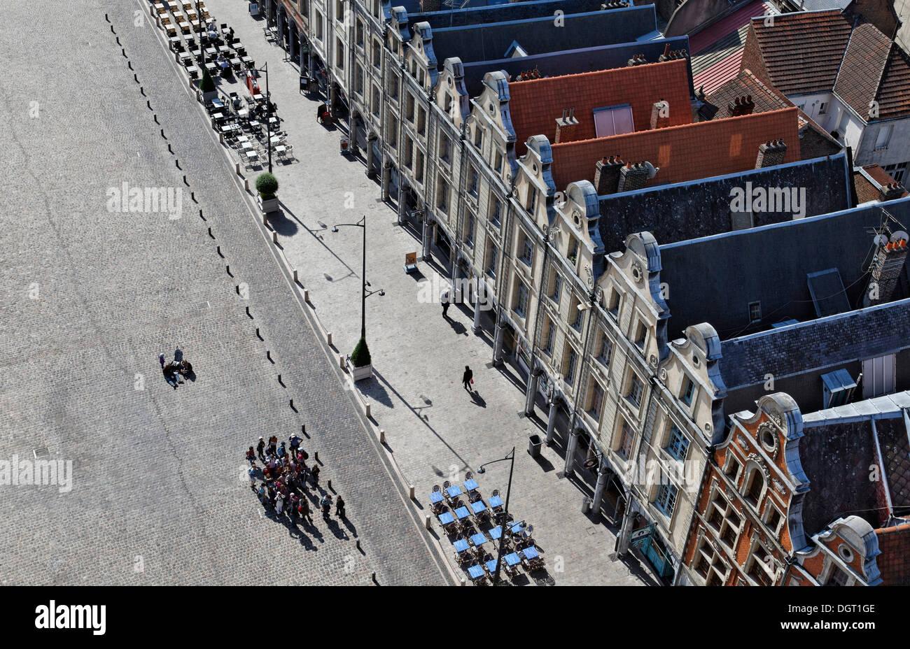 Place des Héros square in Arras, view from the tower of the Town Hall, Via Francigena, Pas-de-Calais department - Stock Image