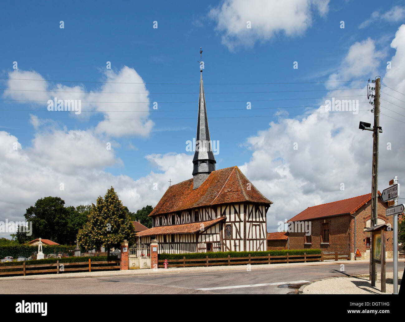 Half-timbered church of Bailly-le-Franc, Via Francigena, Montier-en-Der, department of Haute-Marne, Champagne-Ardenne region - Stock Image