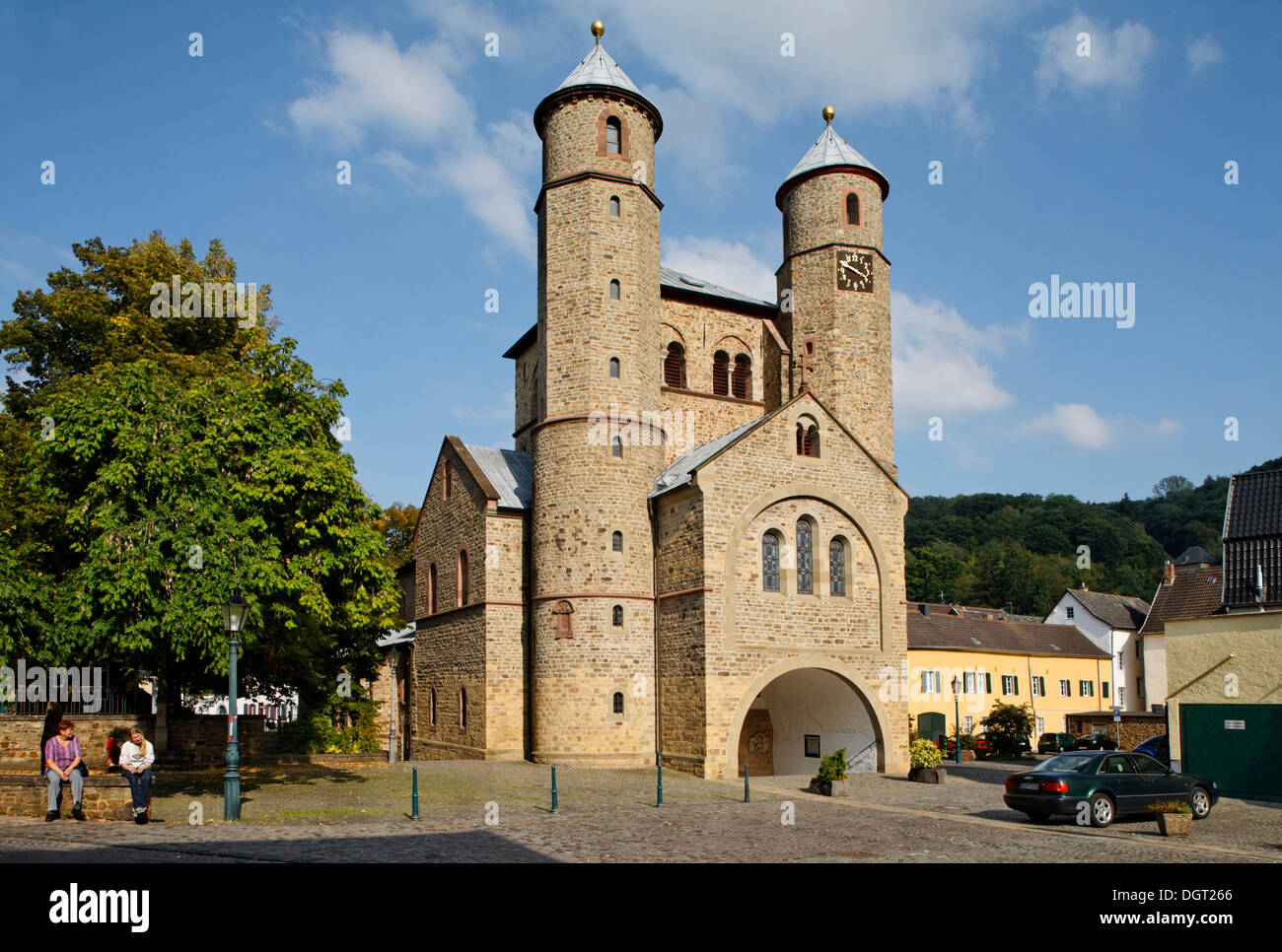 Bad Muenstereifel, Collegiate Church of St. Chrysanthus and Daria, Way of St. James between Cologne and Trier - Stock Image