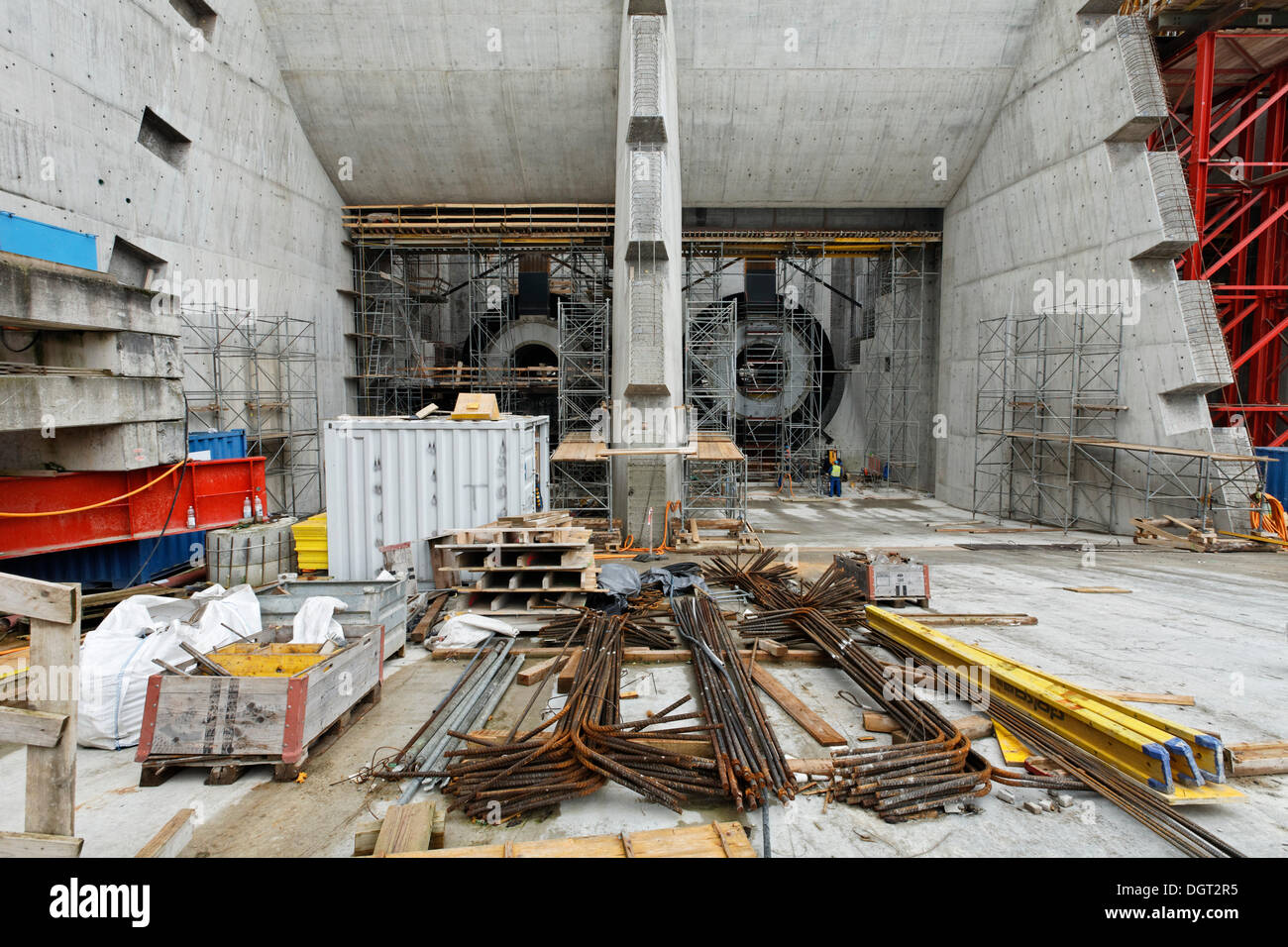 Construction site of the new hydropower plant in Rheinfelden, headwater inlet platform, chamber 1 and 2, Rheinfelden - Ost - Stock Image