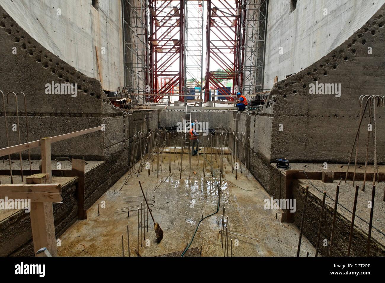 Construction site of the new hydropower plant in Rheinfelden, turbine chamber, chamber 3, concreting work, Rheinfelden Stock Photo