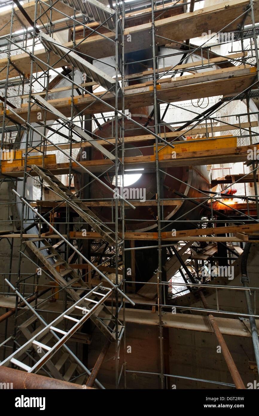 Construction site of the new hydropower plant in Rheinfelden, turbine chamber, chamber 1, welding work, Rheinfelden - Ost - Stock Image