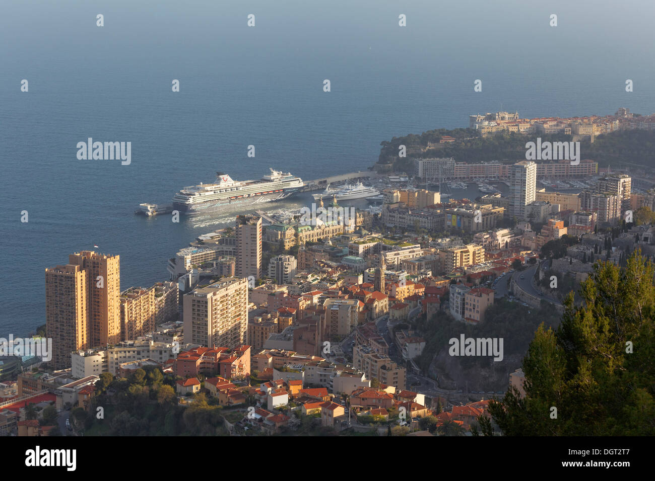 View over the Principality of Monaco, 'Mein Schiff 1' docked in the port - Stock Image