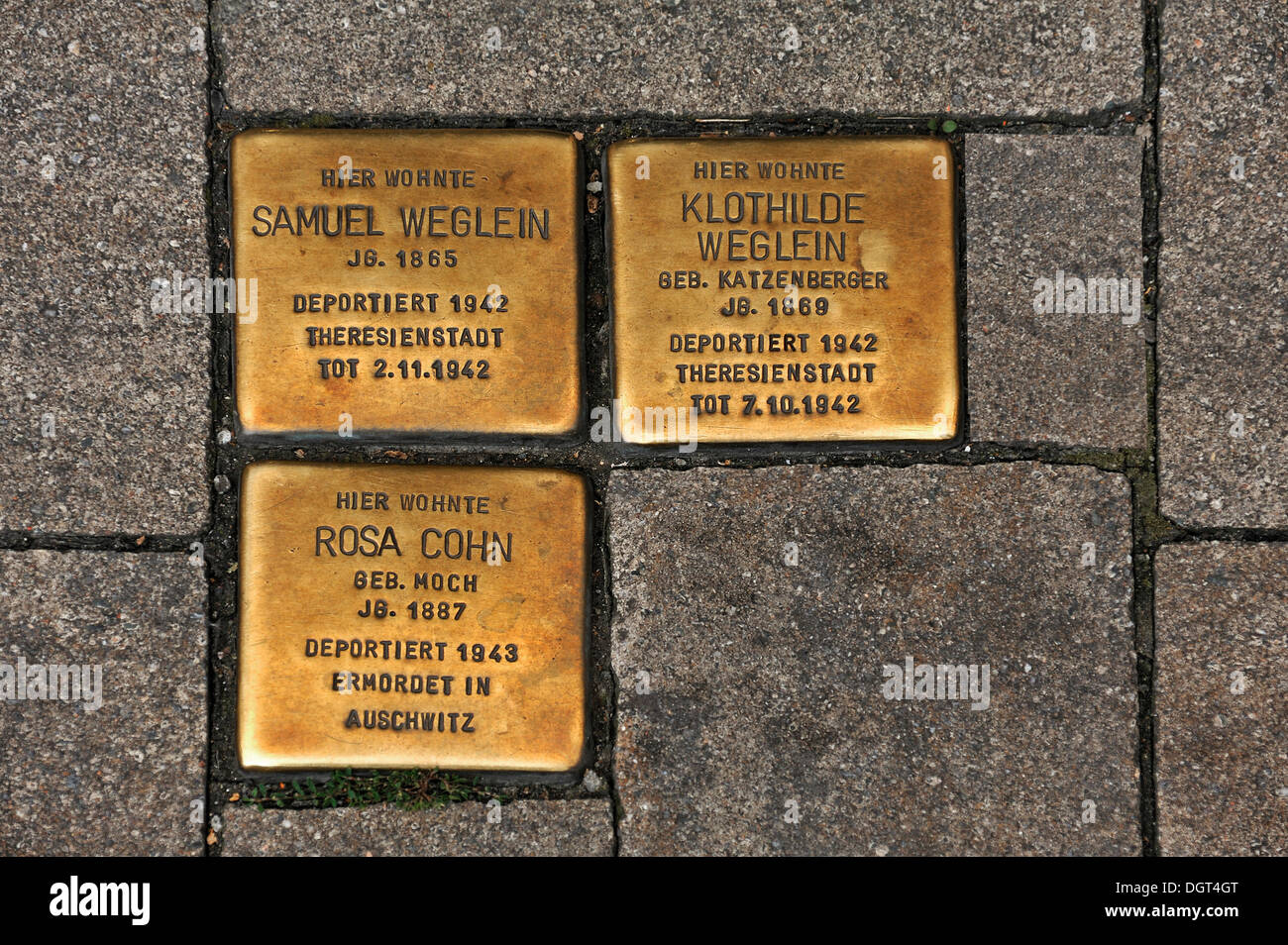Stumbling blocks, memorial stones for deported and murdered Jews in the Third Reich, 1942-1943, main road in Erlangen Stock Photo