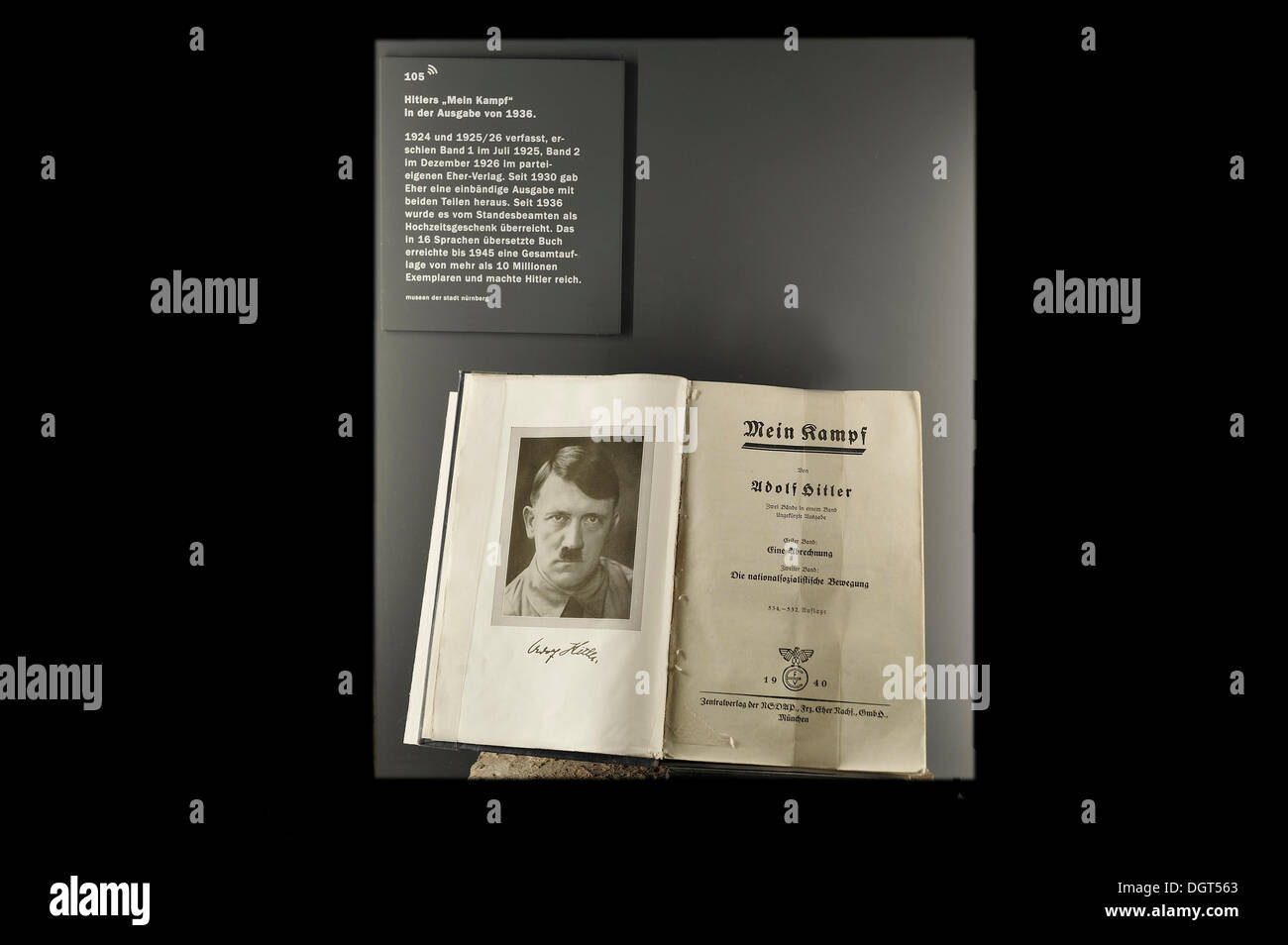 The book 'Mein Kampf', 1936 edition, by Adolf Hitler, part of the permanent exhibition, 'Fascination and Violence', in the - Stock Image