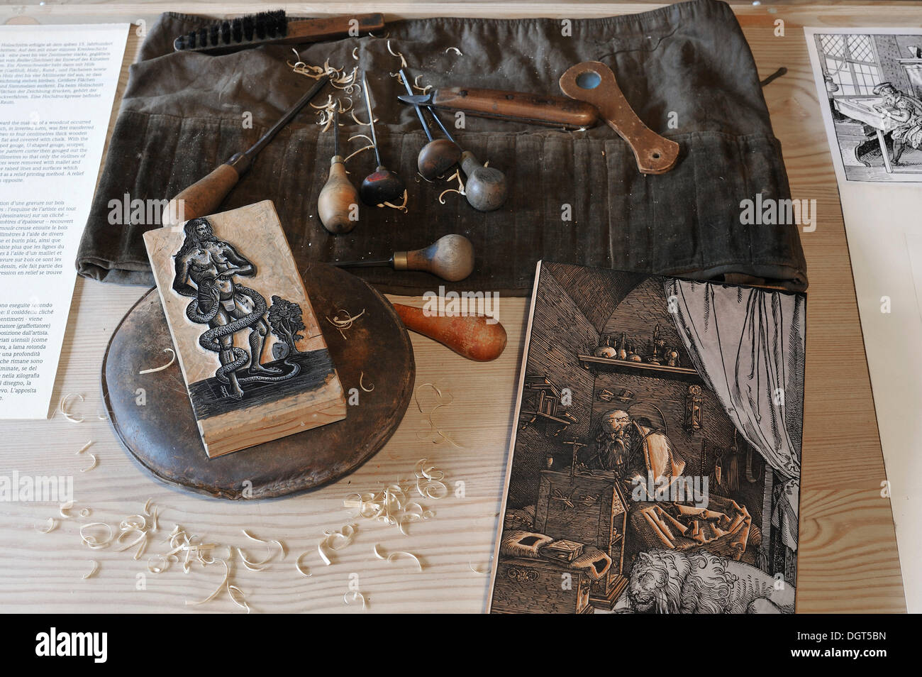 Tools for the production of woodcuts, Albrecht Duerer House, historic center, Nuremberg, Middle Franconia, Bavaria, Germany - Stock Image